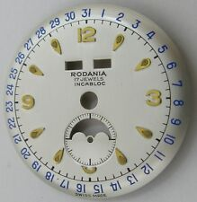 Rodania Watch Dial with calendar & moon fit Venus 203 diameter 30.5 millimeters