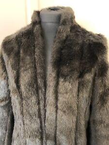 Vintage Faux Fur Edge To Edge Jacket Size 14/16  Dark Brown Good Quality