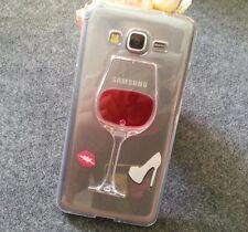 Samsung Galaxy Grand Prime G530 - Clear Red Wine Glass w/ Liquid TPU Rubber Case
