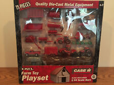 Case/Ih 75 Piece Farm Toy Playset w Tractors, Implements & Barn 1/64 Scale Ertl