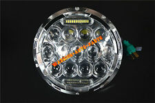 "7"" Round 75W LED Headlight Replacement with DRL Low and High Beam Chrome 1 Piece"