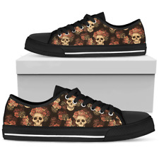 Gothic Skull & Roses Shoes - Women's Low Top