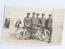 VINTAGE 1900s SOLDIERS POSING WITH INDIAN MOTORCYCLE POSTCARD!