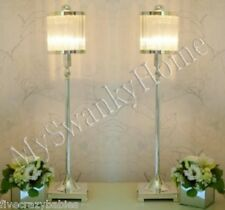 Luxe SILVER Glass Shade ART DECO Buffet Table Lamp PAIR Set Metal Neiman Marcus
