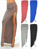 Ladies Side Split Ruched Maxi Skirt Womens High Slit Gypsy Long Skirts 8-14