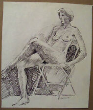 """SEATED POSE"" by Ruth Freeman FLO MASTER PEN  15"" X 17 3/4"""