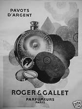 PUBLICITÉ PAVOTS D'ARGENT DE ROGER ET GALLET SUCCESSEURS DE JEAN MARIE FARINA