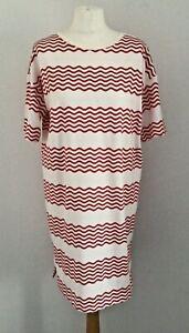 Oliver Bonas White & Red Wavy Stripes Short Sleeve T-Shirt Dress Size 12 BNWOT's