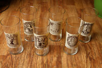Vintage Glass Cup Set Early American Pharmacy Signs Elaboratory, Man and Mortar