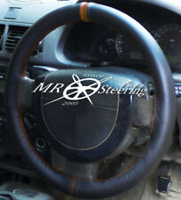 FOR VAUXHALL SIGNUM 2003-2008 BLACK LEATHER STEERING WHEEL COVER + BROWN STRAP