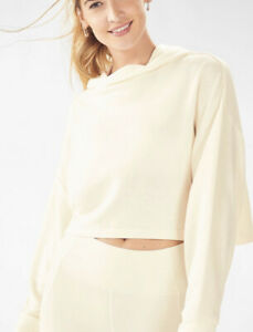 NWT! Fabletics Womens Brisa Cropped Hoodie Ivory Pullover Long Sleeve Plus Sz 1X