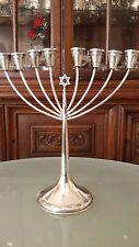 Antique Sterling Silver Hazorfim Candles Hanukkah Menorah Judaica 214Gr