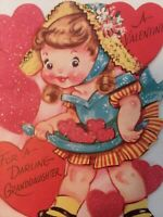 1950s Vtg GLITTER Heart GIRL Darling GRANDDAUGHTER VALENTINE GREETING CARD