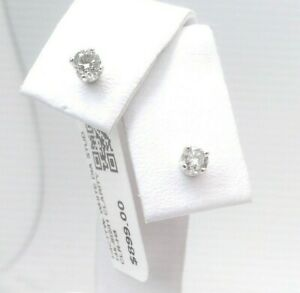 $900 WOW CERTIFIED 1/4CTTW CT REAL Diamond Stud Earrings 14k WHITE Gold SOLID!