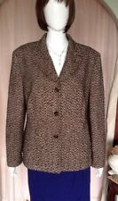 Brown And Cream Fully Lined Jacket With Herringbone Pattern By Gerry Weber Sz 18