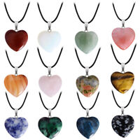 Natural Quartz Heart Gemstone Crystal Rock Healing Point Chakra Pendant Necklace
