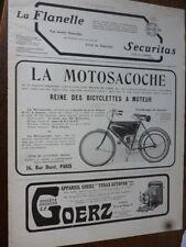 MOTOSACOCHE  reine des bicyclettes à moteur publicité papier ILLUSTRATION 1909