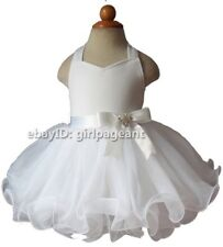 Infant/toddler/kids/baby Girl's white Beaded Bow Pageant Dress 2T EB1097-1