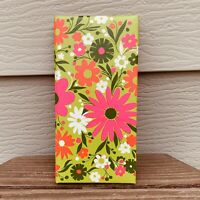 Hallmark Photo Album VTG 60's MID CENTURY Flower Power Mod Hippy Green Pink F/S