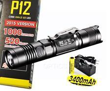 Nitecore P12 2015 Ed. 1000 Lumens Compact LED Flashlight w/ 3400mAh Recharge Kit