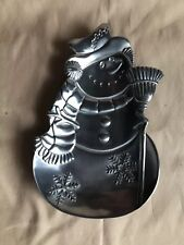 Vintage Snowman Candy Dish-1999-Pewter Fin-Home For The Holidays Collection-Euc