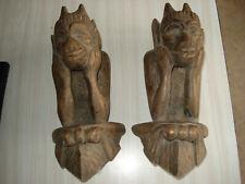 rare ancienne authentiques gargouilles bois sculpter artisanal appliques déco