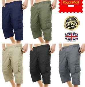 New Men's Cotton Lightweight 3/4 Cargo Combat Elasticated Shorts Pants M-3XL