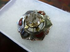Vintage engraved Sterling Silver faceted Smoky Quartz Agate Scottish brooch old