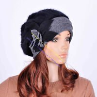 M32 Black Grey Faux Rabbit Fur Wool 2-Tone Brim Hat Beanie Cap Women's