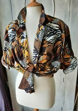VINTAGE ANIMAL TRIBAL PRINT SHIRT BROWNS/BLACK/WHITE LADIES FREE SIZE VGC