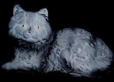 Vintage Gray and Black Persian Cat Cast White Metal Fireside Cat Door Stop