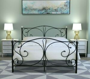 Metal Bed Frame Crystal Black White Bedroom  4FT Double King Mattress Option
