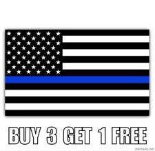 Thin Blue Line Police USA American Blue Lives Matter Flag Car Decal Sticker