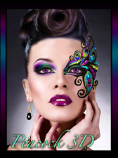 Xotic Eyes 3D Peacock Mask Costume Glitter Crystal Face Tattoo Lashes Mardi Gras