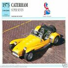 CATERHAM SUPER SEVEN 1973 à nos jours CAR VOITURE GREAT BRITAIN CARTE CARD FICHE