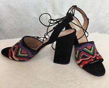 Valentino Shoe Multicolor Beaded Black Suede Nuevitas Sandals New Size 40