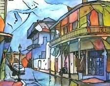ORIGINAL Hand Painted Art FRENCH QUARTER JACKSON SQUARE NEW ORLEANS LOUISIANA