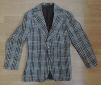 "MEN'S GUARDS CHECK TWEED BLAZER WOOL BLUE BROWN YELLOW 38"" F5-B3"