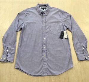 Tommy Hilfiger Graduate End On End Button Up Shirt Men's Size L Purple