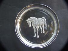 Vintage Hoya Crystal Dish / Bowl with Frosted Horse Design