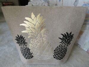 Women's Jumbo Summer Beach Tote Bag With Foil Print Gold/ Black Pineapple NWT