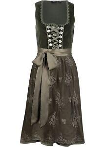 Samt Dirndl Set 2 tlg. Trachtenkleid Gr. 52 oliv Kleid + Spitzen-Schürze neu