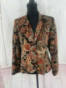 Talbots Womens Blazer Size 10 Petite Brown Paisley Veleveteen Long Sleeves Lined