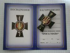 "UKRAINIAN MILITARY ATO BADGE AWARD ""BLOOD FOR UKRAINE"" WITH DOC. WAR 2014-2019"