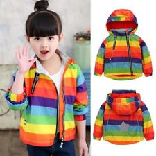 Baby Boys Girls Kids Outerwear Hooded Coat Rainbow Jacket Overcoat Zipper Top