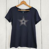 KAREN SCOTT sz Small Navy Blue Silver Studded Star Blouse Top Women's Shirt