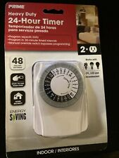 Heavy Duty 24-Hour Indoor Plug-In Mechanical Timer with 2 Outlets, for Lighting
