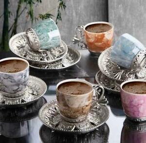 Handmade Arab Coffee Set Espresso Turkish Coffee Set Copper Cup Saucers