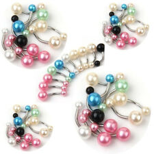 10pcs Pearl Color Ball Belly Button Navel Rings Barbell Body Piercing Jewelery
