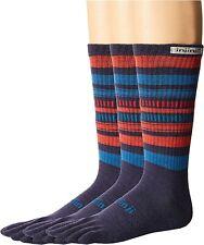 Injinji Blue/Red 3-Pk Outdoor 2.0 Original Weight Crew Socks Unisex Size L 4205